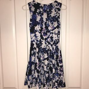 EXPRESS classic fit and flare floral mini dress